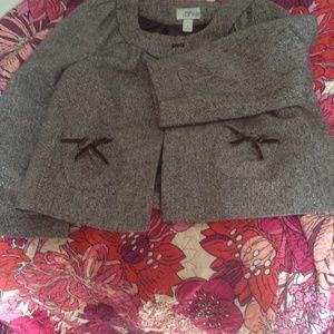 LOFT Bolero Jacket Size 8 Sparkly Brown Tweed